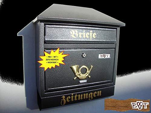 Design Briefkasten W schwarz anthrazit grau großer Einwurf Zeitungsfach Zeitungsrolle Nostalgie