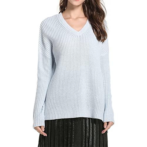 Suéteres de Punto de Manga Larga con Cuello en V de Talla Grande para Mujer Suéteres Casuales Suéteres de Punto Camisa de Fondo Suéteres de Color sólido Otoño e Invierno Suéteres de Punto Fino