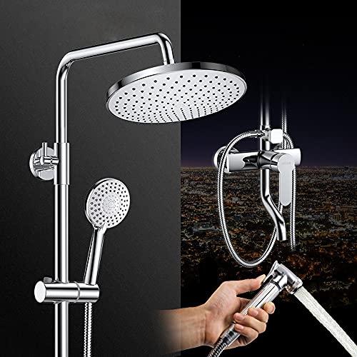 Juego de ducha presurizado, batidora de ducha de baño montada en la pared con cabezal de ducha de lluvia y ducha de mano de 5 funciones, con pistola de pulverización y estante, protección de agua, pro