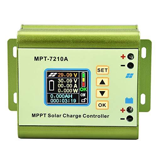 Regolatore di carica del pannello solare, MPT-7210A Regolatore di carica del pannello solare con display LCD MPPT in lega di alluminio per batteria al litio, Regolatore di carica del