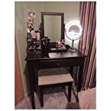 Perfetto Vanity Table Set Espresso with Bench Bedroom Furniture Dressing Tables Makeup Desk