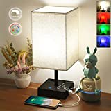 Touch Control Bedside Lamp 5000K Daylight & 3 RGB Color, Stepless Dimmable RGB Table Lamp with 2 USB Port and 2 Outlet, Linkthai Nightstand Lamps for Bedroom Bed Lamp Small Desk Lamps for Living Room