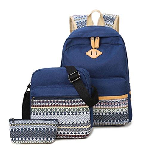 SAMGOO Moda Stile etnico Tela Zainetti Zaino Zainetto per ragazza donna Canvas Backpack zaino Borsa a mano portafoglio per Università scuola 3 Pcs