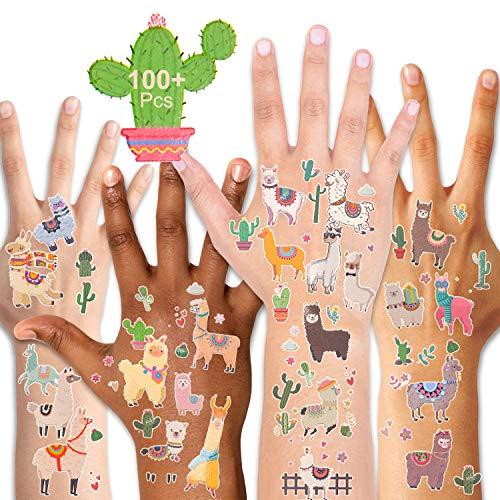 Lama temporäre Tattoos (100 + Stück), Qpout gefälschte Alpaka Kaktus Tattoos Frauen Körper Kunst Körper Aufkleber für Geburtstag Partei Gunsten liefert Goodie Bag Filler große Partei Zubehör Geschenk