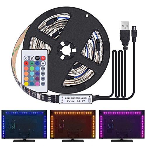 Kit de Ruban LED 2M - [4 Pack*0.5m]LED Bande 60 LEDs 5050 RGB LED Light Strip Flexible Multicolore Décoration Chambre TV Tableau Miroir avec Télécommande+Câble USB pour Noël Halloween Décor Soirée