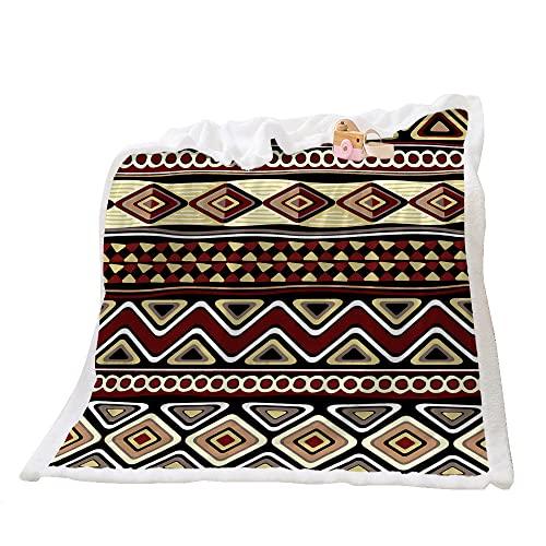 Highdi Wohndecke Flauschige Kuscheldecke Zweiseitige Fleece Decke mit 3D Böhmischer Nationalstil Druck,Weiche Warm Fleecedecke als Sofaüberwurf,Tagesdecke oder Wohnzimmerdecke (Rotbraun,90x120cm)