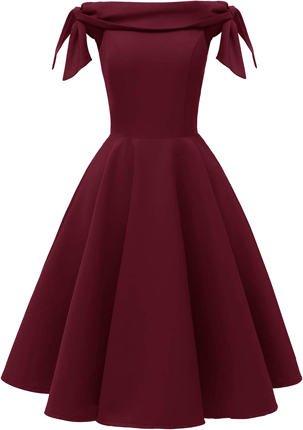 Women's Off The Shoulder Vintage 1950s Bowknot Sleeve Cocktail Party Swing Dress Retro Rockabilly Evening Wedding Prom Dress