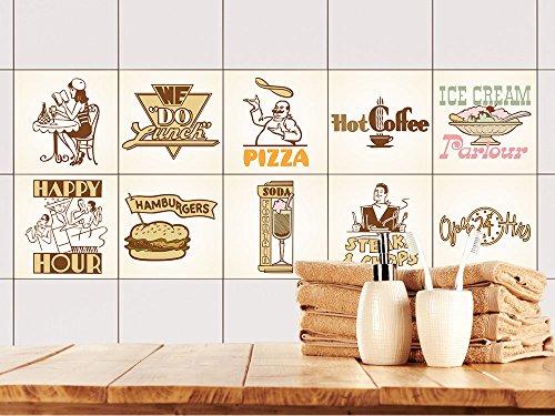 GRAZDesign Fliesenaufkleber Küche Vintage Retro-Set | Wand-Fliesen Aufkleber | Selbstklebende Folie - einfache Verklebung | Wieder ablösbar - für rechteckige Fliesen (10x10cm // Set 10 Stück)