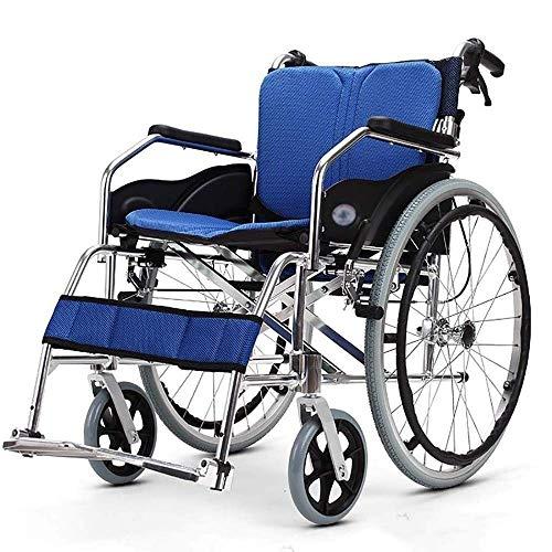GTYHJUIK Faltbarer leichter Rollstuhl, mobiler Rollstuhl, atmungsaktiver weicher Sitz, Aluminiumlegierung, manueller Rollstuhl, für ältere Menschen, Behinderungen, Blau
