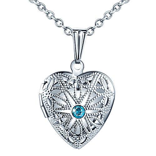 MicLee Damen Halskette Edelstahl Foto Medaillon Photo Bilder Amulett Blau Zirkonia Silber Anhänger Herzkette mit Geschenkbox Grußkarte