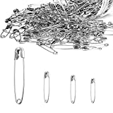 Safety Pins Assorted Sizes, Heavy Duty Large 2 Inch Safety Pins + Small 1 inch Safety Pins...