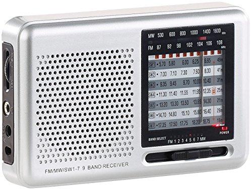 auvisio Transistorradio: Analoger 9-Band-Weltempfänger mit FM, MW & 7X KW, Jackentaschen-Format (analog Radio)