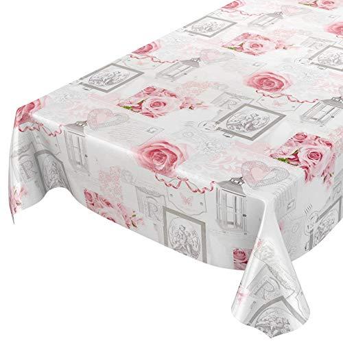 ANRO Nappe en Toile cirée Lavable Motif de Roses et de Maison de Campagne Gris Vieilli 240 x 140 cm Bords découpés