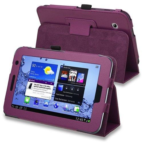 TOOGOO(R)) Funda de Cuero con Soporte para Samsung Galaxy Tab 2 7.0-Pulgadas P3100/ P3110/ P3113, Color Purpura