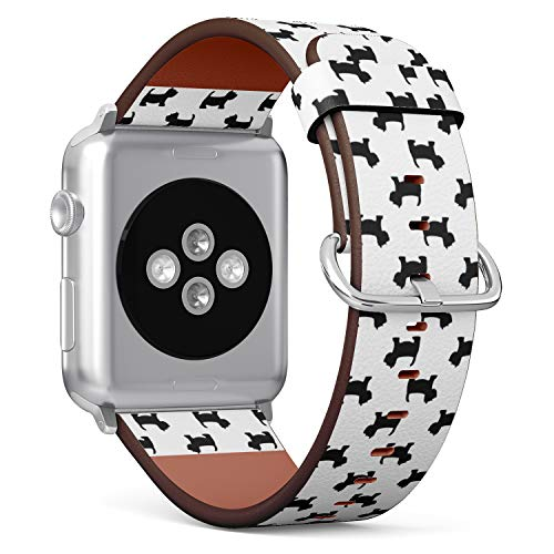 Compatible with Apple Watch Series 6/5/4/3/2/1 (Big Version 42/44 mm) Leather Wristband Bracelet Replacement Accessory Band + Adapters - Pixel Fruit Art Style
