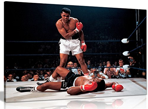 Panther Print, Large Canvas Wall Art, Beautiful Living Room Framed Art, Quality Picture Prints for Walls, Iconic Design Muhammad Ali Boxing Sonny Liston, Print for Special Occasions (76x51cm)