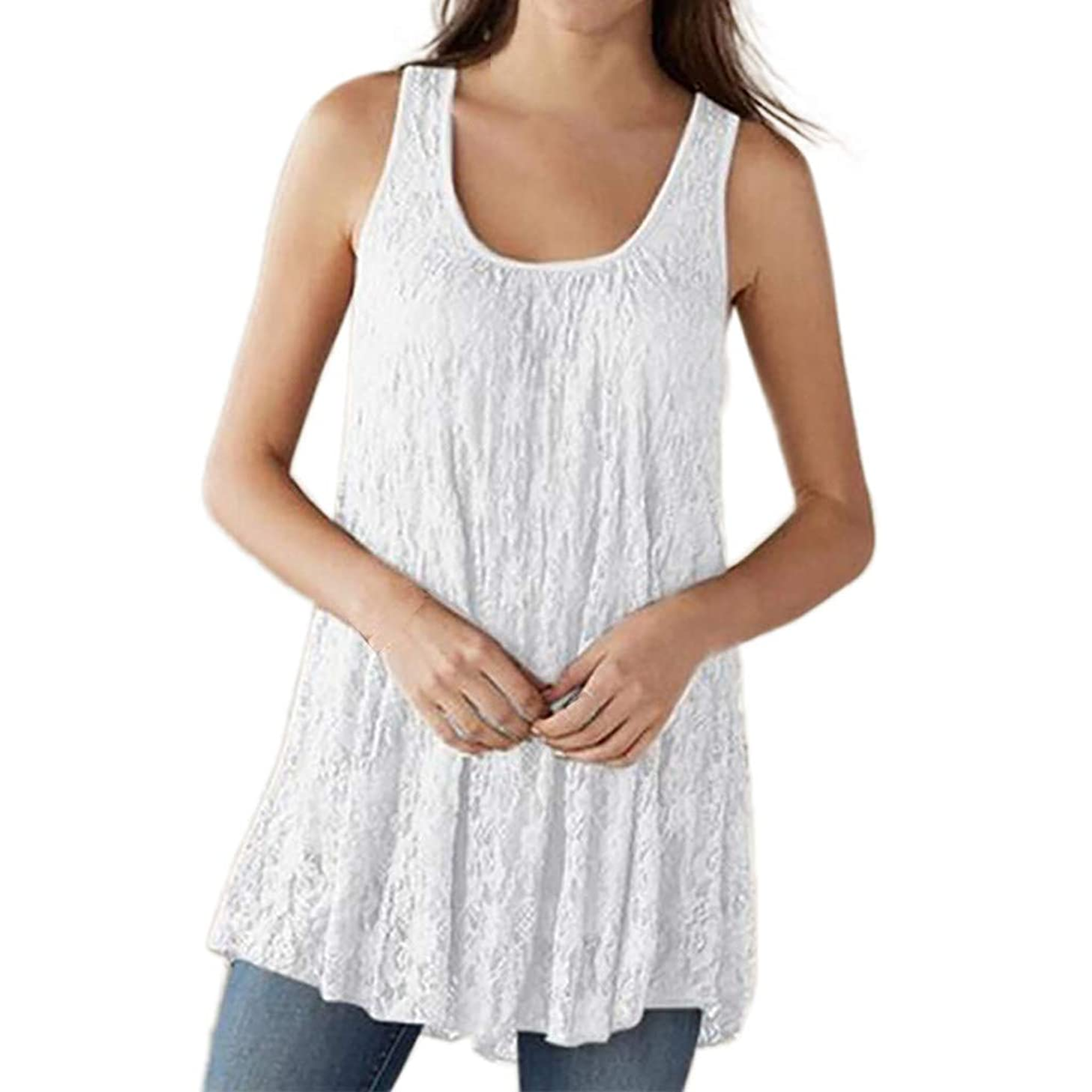 Aniywn Lace Vest, Women's Plus Size Sleeveless Lace Tank Vest Basic Solid Color O-Neck T-Shirt Tops Blouse