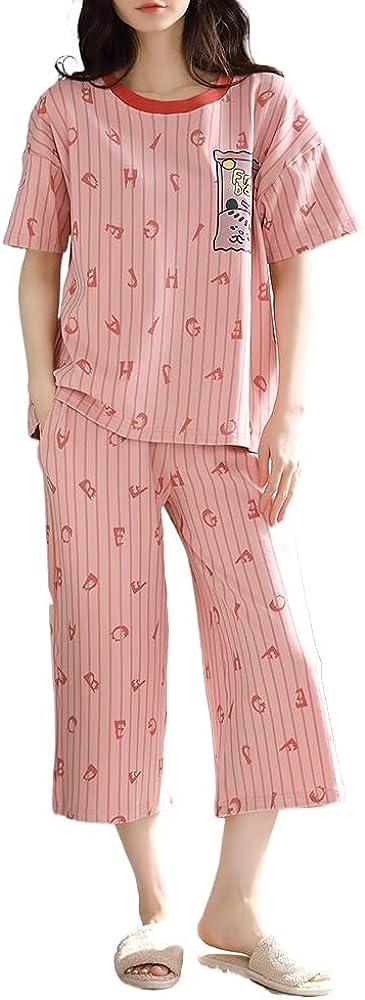 KINYBABY Teen Girls Pajama Sets Summer Casual Loungewear Nightwear Short Sleeve Sleep Top and Shorts Outfits (N6208,16-18 Years/Tag XXL)