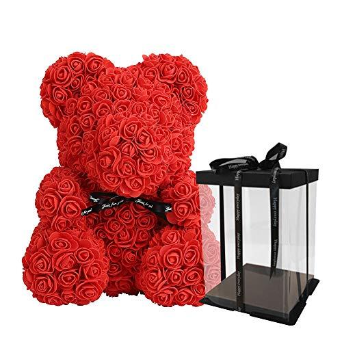 GuliriFe Blumenbär mit Geschenkbox - einzigartiges Geschenk für Freundin zum Geburtstag & Jahrestag - exklusiver Teddybär aus roten Rosen für den perfekten Hochzeitstag