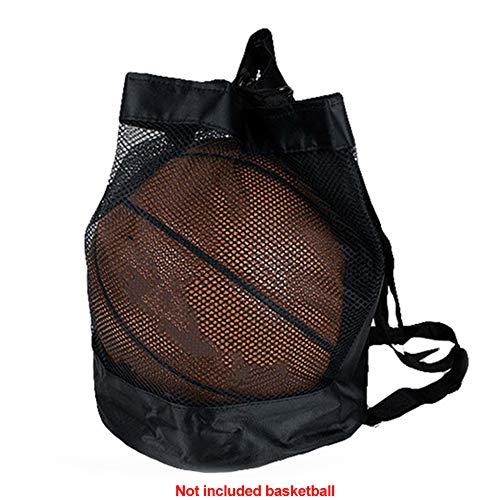 Balltasche aus Netzstoff, Oxford-Gewebe, Kordelzug, Aufbewahrungstasche für Basketball, Fußball, Volleyball, Tennis, Sportbekleidung, schwarz