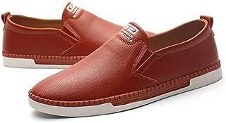 [QIFENGDIANZI] メンズ カジュアルシューズ デッキシューズ 靴 ドライビングシューズ スニーカー 紳士靴 ローカット アウトドア オシャレ スリッポン コンフォート ブルー ブラック ブラウン