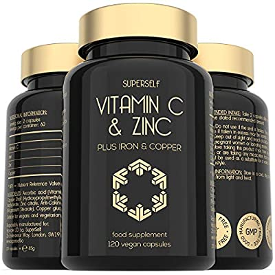 Vitamin C and Zinc Tablets - 1000mg Vitamin C with Zinc, Iron, Copper - 120 Capsules - High Strength VIT C Vegan Supplement - Immune System Complex