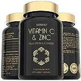 Vitamin C and Zinc Tablets - 1000mg Vitamin C with Zinc, Iron, Copper