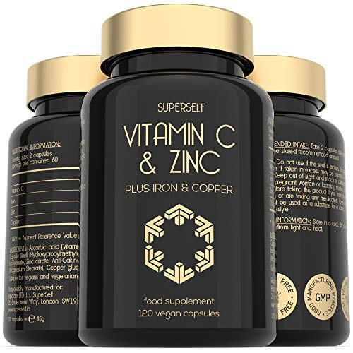 Vitamin C and Zinc Tablets - 1000mg Vitamin C with Zinc, Iron, Copper - 120 Capsules - High Strength VIT C Vegan Supplement - Immune System Complex