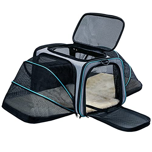Cat Dog Carrier - Airline Approved Expandable Soft-Sided Pet Carrier with Removable Fleece Pad and Pockets, for Cats/Puppy and Small Animals