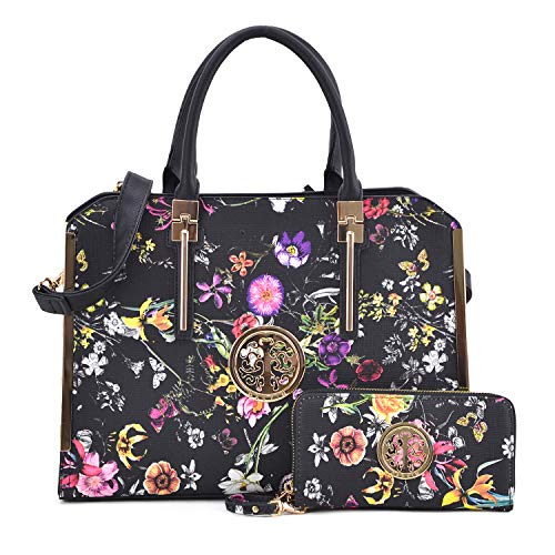 Women Fashion Satchel Handbags with Wallet Designer Purse Large Tote Bag Shoulder Bag for Ladies (7555-Black Flower)