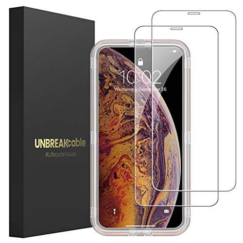 """UNBREAKcable [2-Pezzi] Pellicola Vetro Temperato Compatibile con iPhone 11 PRO Max/XS Max - Vetro Temprato Premium Doppia Difesa Serie iPhone 11 PRO Max/XS Max 6.5""""- [Anti-Impronta, Senza Bolle]"""