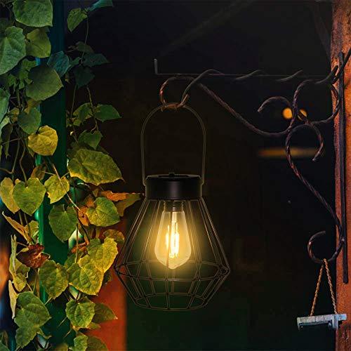ソーラーランタン アウトドア - LEDガーデンテーブルランプ 金属製 防水 温白色 LED電球 吊り下げソーラーライト ヴィンテージソーラーランプ 庭 テラス 中庭 芝生 風景 装飾
