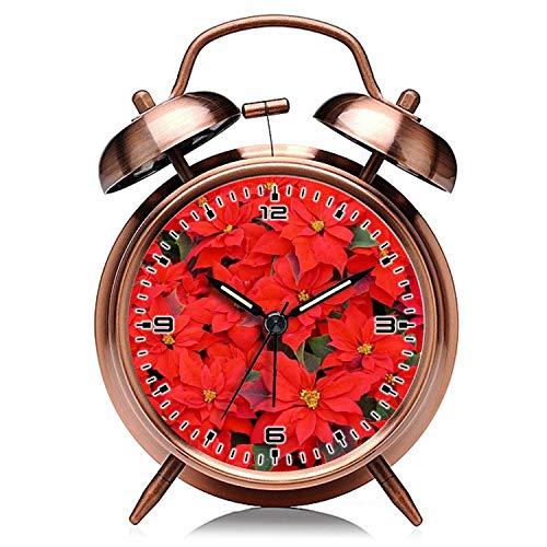 Weihnachten Kupfer Retro Uhr leise mit Nachtlicht Doppelglocke Wecker 754. Rote Weihnachtssterne I Weihnachten Urlaub Floral Wecker