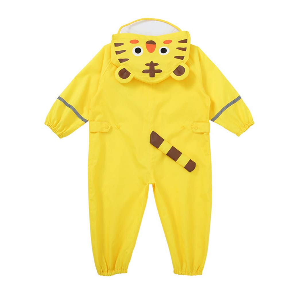 Unisex 3D Cute Raincoat Kids Waterproof Rainsuit All in One Suits Boys Girls Hooded Suit with Reflector Lightweight Breathable Yellow Tiger 3-5 Years