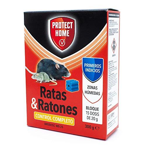PROTECT HOME Raticida en Bloques de Alta eficacia y atracción, Zonas humedas. Ratas y Ratones, 15 x 20gr. (300gr, Rojo, 300 G