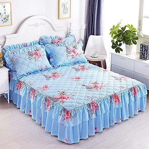 CYYyang Protector de colchón, algodón, poliéster, Hoja de Cama de Encaje de Falda de Cama engrosada-30_150 * 200cm