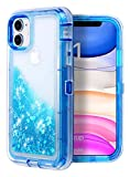 WORLDMOM for iPhone 11 Case, Three Layer Full-Body Rugged Bling Flowing Liquid Floating Sparkle Colorful Glitter Waterfall TPU Protective Phone Case for Apple iPhone 11 [6.1 inch 2019],Blue