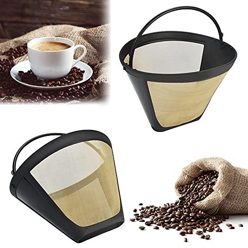 STCRERAG 2 Stücke Goldtonfilter Kaffee Dauerfilter Größe 4 Edelstahl Kaffee Filter Mesh Korb Waschbar Kaffeefilter Wiederverwendbar Plastik Dauerkaffeefilter mit Griff Für Meisten Kaffeemaschinen