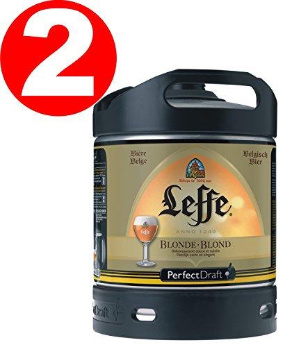 2 x Leffe cerveza de Bélgica Perfect Draft 6 litros barril 6,6 % vol.