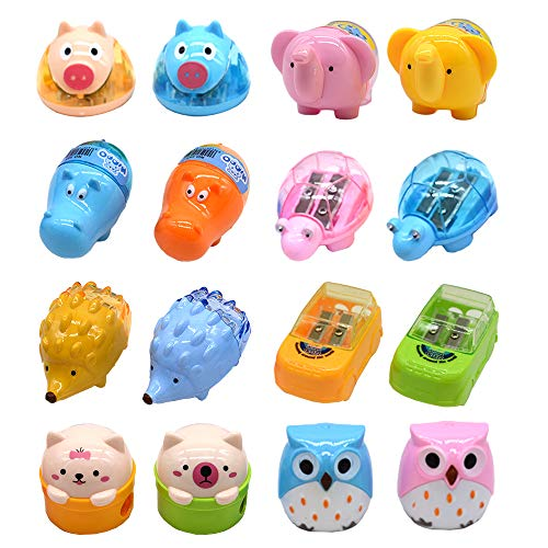 Cartoon Animal Pencil Sharpeners, Cute Two-Holes Plastic Pencil Sharpener, School Student Stationery Supplies (set of 16)