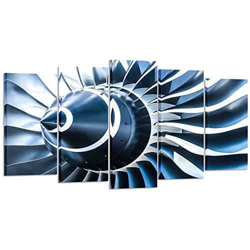 Kreative Arts - Canvas Prints Jet Engine Art Wall Decor 5 Panel Large Turbine Plane Propeller Pictures Print on Canvas Framed Ready to Hang for Office Decor (Large Size 60x32inch)