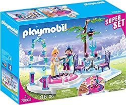 Playmobil Super Sets are a good gifting option Features a Prince and Princess Figures can dance by being placed on the rotating platform Includes a table and chairs for Prince and Princess to enjoy a meal together Encourages learning through interact...