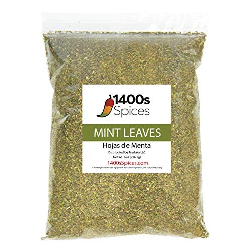 8oz Cut Dried Mint Leaves (Hojas de Menta). Fresh and Intense Mentholated Flavor. Dried Peppermint...