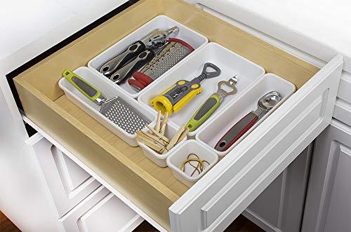 Home Basics 8 Piece Kitchen, Adjustable and Customizable Multi-Drawer Divider Organizer Set Multipurpose Use White