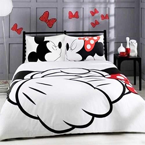 XWXBB NICHIYOBI Disney Mickey Minnie - Juego de ropa de cama - Funda nórdica y funda de almohada - Microfibra - Impresión digital 3D - Juego de 3 piezas (King 220 x 240 cm)