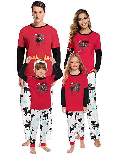Abollria Pijamas de Navidad Familia Conjunto Pantalon y Top Pijamas Mujer Hombre Invierno Manga Larga Pijama 2 Piezas Ropa de Dormir para Bebés Mamá Papá Homewear Sleepsuit