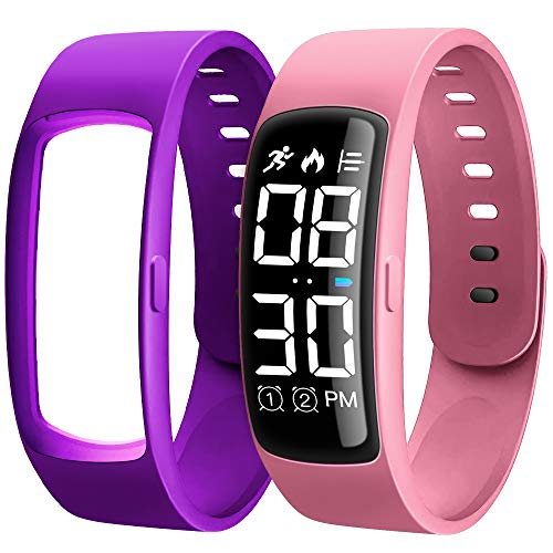 Kids Fitness Tracker, AKIVIDA Activity Tracker Pedometer Watch with Calorie Step Counter Alarm 2 Bands Replacement Sport Bracelet Gift for Kids Girls Boys Teens Age 3+ (Pink)