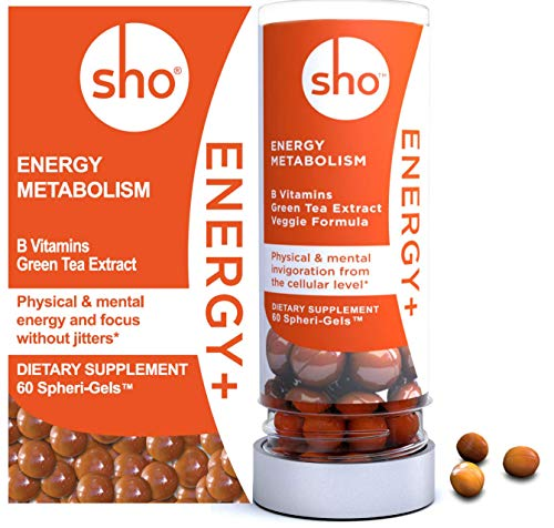 SHO 'Energy+' Refill: Vegan Energy Alert Focus Supplements   Matcha Green Tea Extract & Vitamin B Complex with Caffeine   Calm Energy Boosters for Women and Men Without Jitters   60 Energy Gel