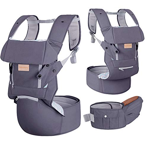 Infant Baby Wrap Carrier with Stool - All Positions Baby Carrier, Baby Hip Seat Ergonomic Carrier, Newborn to Toddlers Carrier with Soft Breathable Air Mesh, All Adjustable Buckles (Dark Grey, 1 Pack)