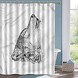 Cloth Shower Curtain Wolf Monochrome Sketch Canine Shower stall Curtains W48 xL72